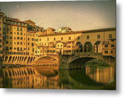 Metal Print featuring the photograph Ponte Vecchio Morning Florence Italy by Joan Carroll