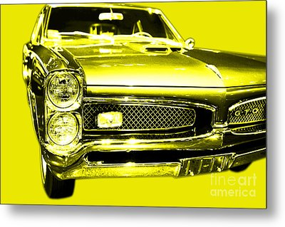 Pontiac Gto Yellow Metal Print by Wingsdomain Art and Photography