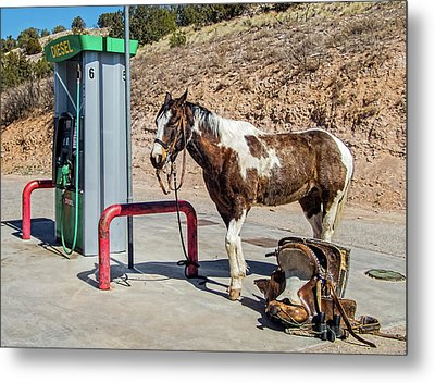 Metal Print featuring the photograph Pony At The Pump by Britt Runyon