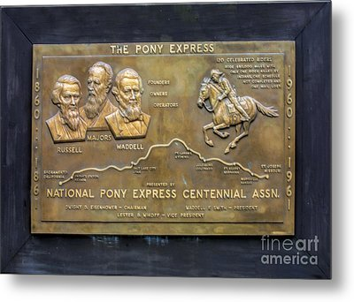 Pony Express Brass Plaque Metal Print