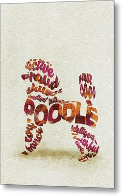 Metal Print featuring the painting Poodle Dog Watercolor Painting / Typographic Art by Inspirowl Design
