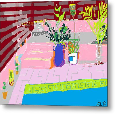 Metal Print featuring the painting Poolside by Anita Dale Livaditis