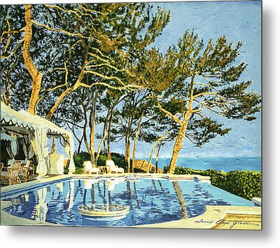Poolside Sunset - Monaco Metal Print by David Lloyd Glover