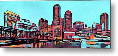 Pop Art Boston Skyline Metal Print by Dan Sproul