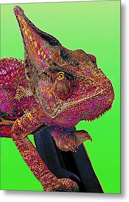 Pop Art Chameleon Metal Print by L S Keely
