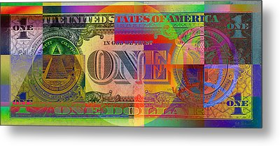 Pop-art Colorized One U. S. Dollar Bill Reverse Metal Print by Serge Averbukh