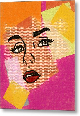 Metal Print featuring the mixed media Pop Art Comic Woman by Dan Sproul