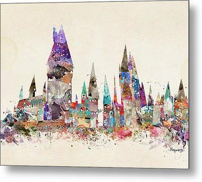 Pop Art Hogwarts Castle Metal Print