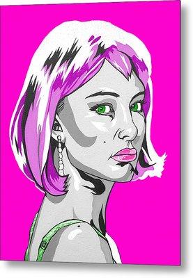 Metal Print featuring the digital art Pop Art Portman by Sarah Crumpler