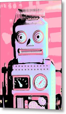 Pop Art Poster Robot Metal Print