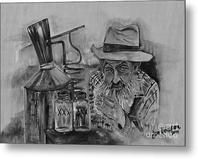 Popcorn Sutton - Black And White - Waiting On Shine Metal Print