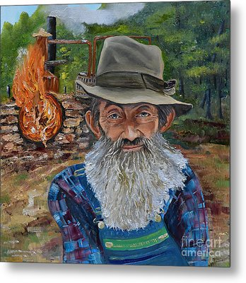 Metal Print featuring the painting Popcorn Sutton - Rocket Fuel -white Whiskey by Jan Dappen