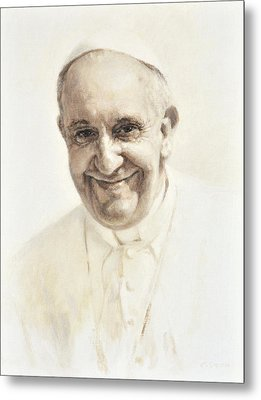 Metal Print featuring the painting Pope Francis, Joyful Father by Smith Catholic Art