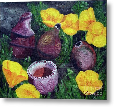Poppies And Pottery Metal Print by Laura Iverson