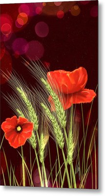 Poppies And Wheat Metal Print by Veronica Minozzi