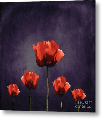 Poppies Fun 01b Metal Print by Variance Collections