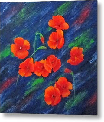 Poppies In Abstract Metal Print by Roseann Gilmore