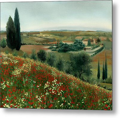 Poppies In Tuscany Metal Print by Leah Wiedemer