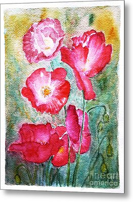 Metal Print featuring the painting Poppies by Jasna Dragun