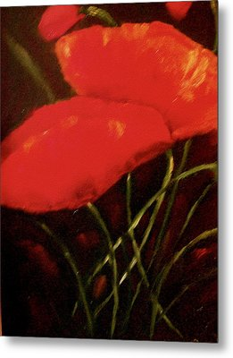 Metal Print featuring the painting Poppies by Marie Hamby