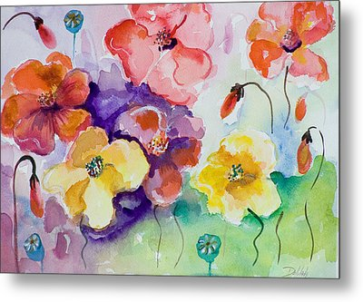 Poppies Of Color Metal Print by Delilah  Smith