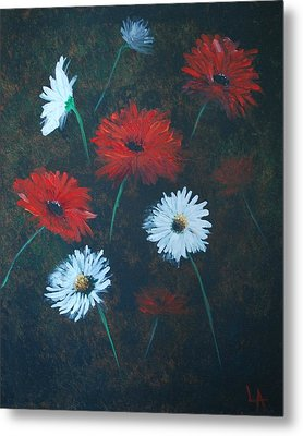 Metal Print featuring the painting Poppin Daisies by Leslie Allen