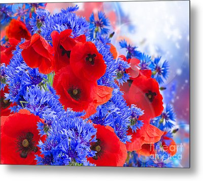 Poppy And Cornflower Flowers Metal Print by Anastasy Yarmolovich
