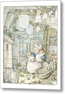 Poppy And Her Babies Sit By The Fire Metal Print by Brambly Hedge