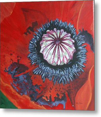 Metal Print featuring the painting Poppy Centre by Betty-Anne McDonald