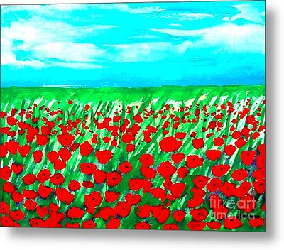Poppy Field Abstract Metal Print by Marsha Heiken