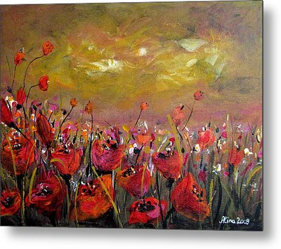 Poppy Field Metal Print by Alina Vidulescu