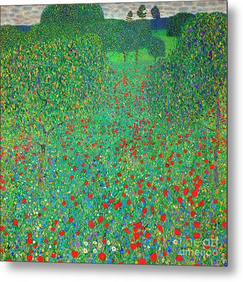 Poppy Field Metal Print by Gustav Klimt