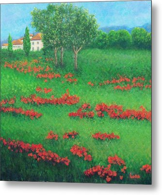 Poppy Field In Italy Metal Print by Lore Rossi