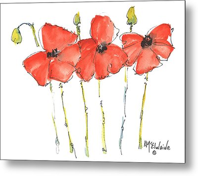 Red Poppy Play Metal Print