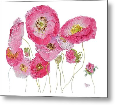 Poppy Painting On White Background Metal Print by Jan Matson