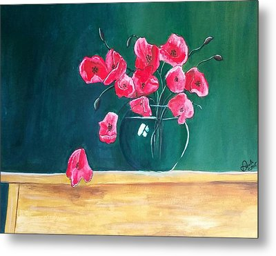 Poppy Still Life Metal Print by Carol Duarte