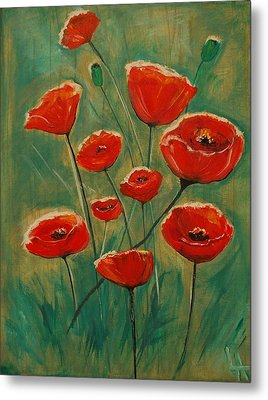Metal Print featuring the painting Poppy Surprise by Leslie Allen