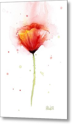 Poppy Watercolor Red Abstract Flower Metal Print by Olga Shvartsur