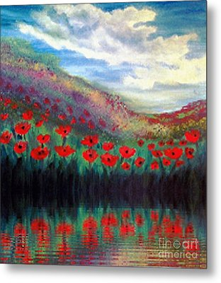 Metal Print featuring the painting Poppy Wonderland by Holly Martinson