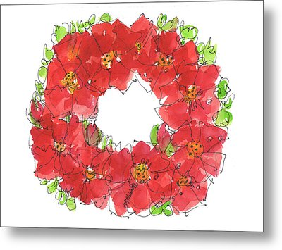 Poppy Wreath Metal Print
