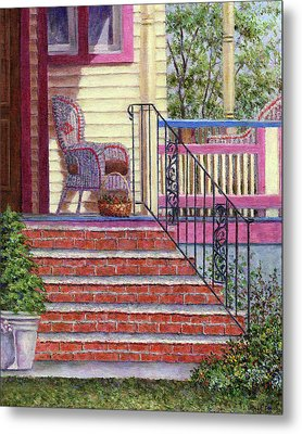 Porch With Basket Metal Print
