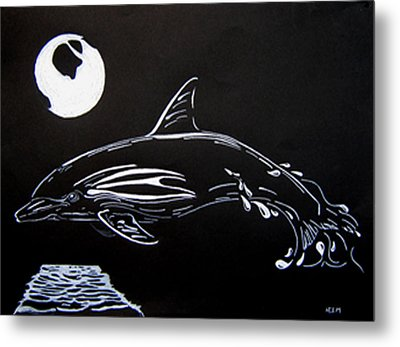 Metal Print featuring the drawing Porpoise Sillhouette by Mayhem Mediums