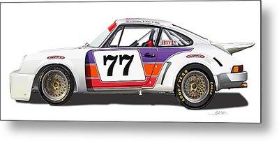 Porsche 1977 Rsr Illustration Metal Print by Alain Jamar