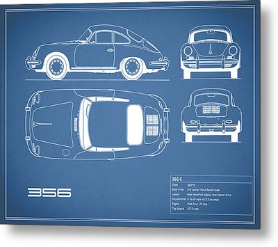 Porsche 356 C Blueprint Metal Print by Mark Rogan