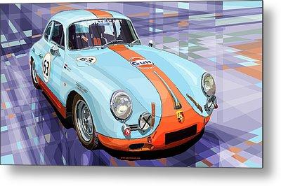 Porsche 356 Gulf Metal Print by Yuriy  Shevchuk