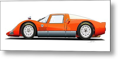 Porsche 906 Illustration Metal Print by Alain Jamar