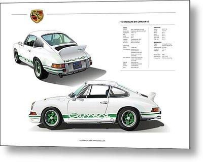 Porsche 911 Carrera Rs Illustration Metal Print by Alain Jamar