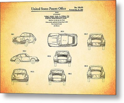 Porsche 911 Patent Metal Print by Mark Rogan