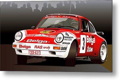 Porsche 911 Rally Illustration Metal Print