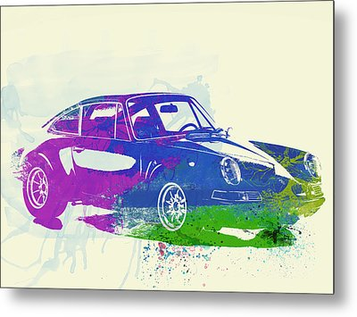 Porsche 911 Watercolor Metal Print